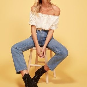 Reformation Cynthia High Relaxed Jean in Aegean